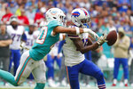 Miami Dolphins defensive back Nik Needham (40) pressures Buffalo Bills wide receiver John Brown (15), during the first half at an NFL football game, Sunday, Nov. 17, 2019, in Miami Gardens, Fla. (AP Photo/Wilfredo Lee)