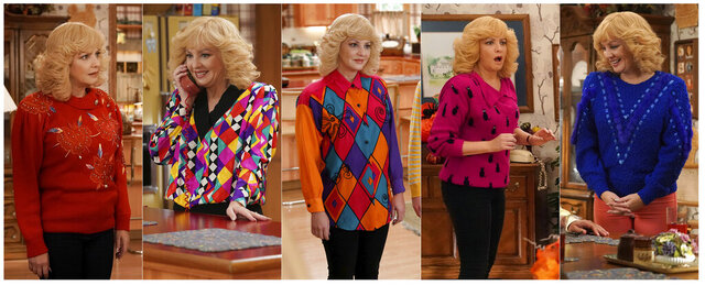 This combination of photos released by ABC shows McLendon-Covey as Beverly Goldberg in scenes from the comedy series