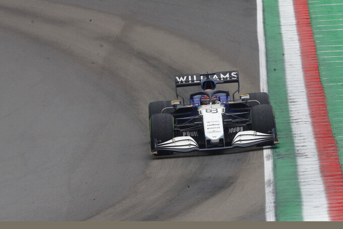 Williams driver George Russell of Britain steers his car during the Emilia Romagna Formula One Grand Prix, at the Imola racetrack, Italy, Sunday, April 18, 2021. (AP Photo/Luca Bruno)