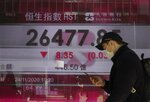 A man walks past a bank's electronic board showing the Hong Kong share index at the Hong Kong Stock Exchange, Tuesday, Nov. 24, 2020. Asian shares were mostly higher Tuesday, encouraged by news on the development of coronavirus vaccines and more assurance for a transition of power in the U.S. to President-elect Joe Biden. (AP Photo/Vincent Yu)