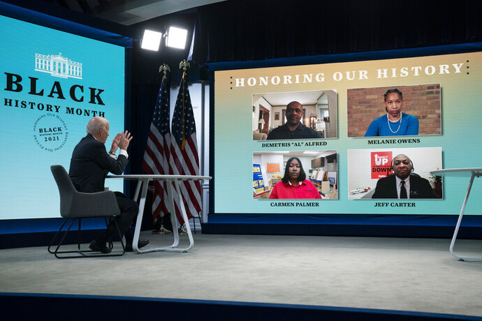 President Joe Biden speaks during a virtual roundtable with Black essential workers hosted by Domestic Policy Council director Susan Rice, in the South Court Auditorium on the White House campus, Tuesday, Feb. 23, 2021, in Washington. (AP Photo/Evan Vucci)