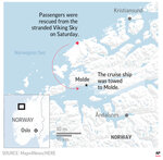 A cruise ship was stranded off Norway's western coast in bad weather.;