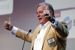 New Orleans Saints NFL football kicker and Hall of Fame enshrinee Morten Andersen gestures after giving a keynote speech during the Betting On Sports America conference, Thursday, April 25, 2019, in Secaucus, N.J. (AP Photo/Julio Cortez)