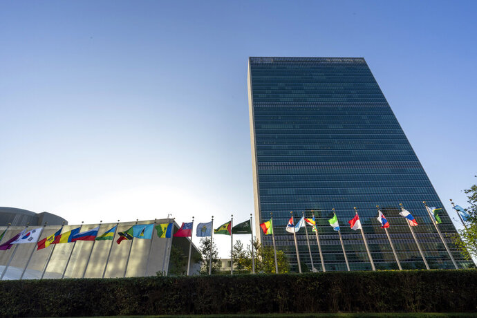 Member state flags fly outside the United Nations headquarters during the 75th session of the United Nations General Assembly, Wednesday, Sept. 23, 2020. This year's annual gathering of world leaders at U.N. headquarters will be almost entirely