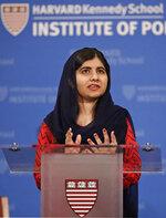2014 Nobel Laureate Malala Yousafzai gestures during an address at the Kennedy School's Institute of Politics at Harvard University, Thursday, Dec. 6, 2018. (AP Photo/Charles Krupa)