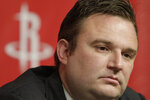 FILE - In this April 19, 2011, file photo, Houston Rockets General Manager Daryl Morey talks during a news conference, in Houston. A since-deleted tweet from Morey that showed support for Hong Kong anti-government protesters has prompted an immediate backlash in China against the league. (AP Photo/Pat Sullivan, File)