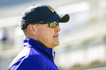 East Carolina head coach Mike Houston watches during an NCAA college football game against Navy, Saturday, Oct. 17, 2020, in Greenville, N.C. (AP Photo/Jacob Kupferman)