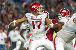 Arkansas quarterback Nick Starkel (17) throws against Alabama during the first half of an NCAA college football game, Saturday, Oct. 26, 2019, in Tuscaloosa, Ala. (AP Photo/Vasha Hunt)