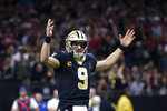 New Orleans Saints quarterback Drew Brees (9) reacts in the first half an NFL football game against the San Francisco 49ers in New Orleans, Sunday, Dec. 8, 2019. (AP Photo/Butch Dill)