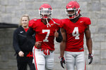 Georgia running back D'Andre Swift (7) and Georgia running back James Cook (4) at an NCAA football spring practice in Athens, Ga., Tuesday, March 26, 2019. (Joshua L. Jones/Athens Banner-Herald via AP)