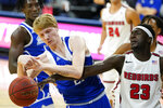 Drake forward Jordan Kwiecinski, left, fights for a loose ball with Illinois State forward Harouna Sissoko, right, during the second half of an NCAA college basketball game, Monday, Feb. 1, 2021, in Des Moines, Iowa. Drake won 95-60. (AP Photo/Charlie Neibergall)