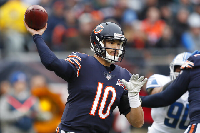 Chicago Bears quarterback Mitchell Trubisky throws against the Detroit Lions during the first half of an NFL football game in Chicago, Sunday, Nov. 10, 2019. (AP Photo/Charlie Neibergall)