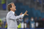 Italy's manager Roberto Mancini gives instructions from the side line during the Euro 2020 soccer championship group A match between Italy and Turkey at the Olympic stadium in Rome, Friday, June 11, 2021. (Alberto Lingria/Pool Photo via AP)