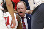 Wisconsin head coach Greg Gard talks to his players during the second half of an NCAA college basketball game against Nebraska in the quarterfinals of the Big Ten Conference tournament, Friday, March 15, 2019, in Chicago. Wisconsin won 66-62. (AP Photo/Nam Y. Huh)