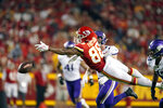 Kansas City Chiefs tight end Jody Fortson is unable to reach a pass during the first half of an NFL football game against the Minnesota Vikings Friday, Aug. 27, 2021, in Kansas City, Mo. (AP Photo/Charlie Riedel)