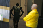 New Orleans Saints cornerback Marshon Lattimore (23) walks to the locker room after being injured in the first half of an NFL football game against the Atlanta Falcons in New Orleans, Sunday, Nov. 10, 2019. (AP Photo/Butch Dill)