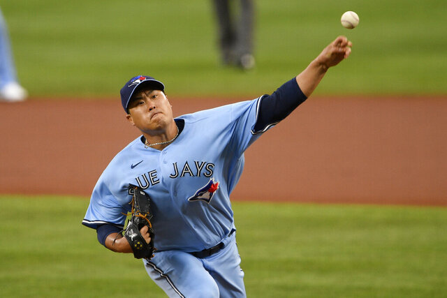 Toronto Blue Jays starting pitcher Hyun-Jin Ryu, of South Korea, delivers during the first inning of a baseball game against the Baltimore Orioles, Monday, Aug. 17, 2020, in Baltimore. (AP Photo/Nick Wass)