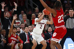 Connecticut guard James Bouknight (2) looks to pass as Indiana forward Damezi Anderson (23) defends during the first half of an NCAA college basketball game in the Jimmy V Classic, Tuesday, Dec. 10, 2019, in New York. (AP Photo/Kathy Willens)