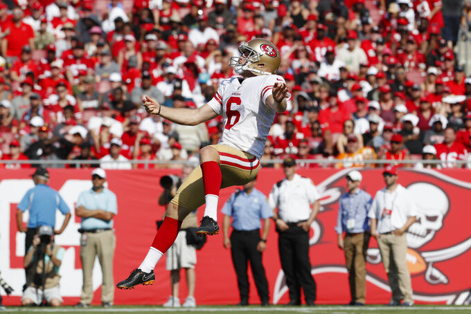 San Francisco 49ers punter Mitch Wishnowsky (6) punts the ball against the Tampa Bay Buccaneers during the first half an NFL football game, Sunday, Sept. 8, 2019, in Tampa, Fla. (AP Photo/Mark LoMoglio)