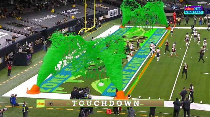 FILE - In this Jan. 10, 2021, file image, virtual slime cannons go off in the end zone after a touchdown during Nickelodeon's kid-focused broadcast of the NFL wild-card playoff game between the Chicago Bears and New Orleans Saints in New Orleans. There might eventually be a kids-focused broadcast of the Super Bowl. It won't be happening this year. Nickelodeon will still have a noticeable presence during Sunday's coverage on CBS.(CBS/Viacom via AP, File)