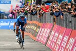 Richard Carapaz pedals on his way to win the 14th stage of the Giro d'Italia cycling race, from Saint-Vincent to Courmayeur, Saturday, May 25, 2019. Richard Carapaz of Ecuador won the grueling 14th stage of the Giro d'Italia on Saturday to move into the overall lead. (Alessandro Di Meo/ANSA via AP)
