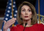 Speaker of the House Nancy Pelosi, D-Calif., insists that Attorney General William Barr send to Congress the full report by special counsel Robert Mueller on the Russia probe with all its underlying evidence, during a news conference on Capitol Hill in Washington, Thursday, April 4, 2019. She also defended the move by House Ways and Means Committee Chairman Richard Neal, D-Mass., to demand President Donald Trump's tax returns for six years. (AP Photo/J. Scott Applewhite)