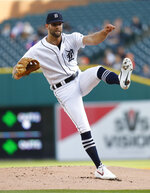 Detroit Tigers pitcher Daniel Norris watches a pitch to a Miami Marlins batter during the first inning of a baseball game in Detroit, Wednesday, May 22, 2019. (AP Photo/Paul Sancya)