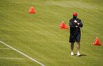 Atlanta Falcons head coach Arthur Smith looks on during an NFL football rookie minicamp on Friday, May 14, 2021, in Flowery Branch, Ga. (AP Photo/Brynn Anderson)