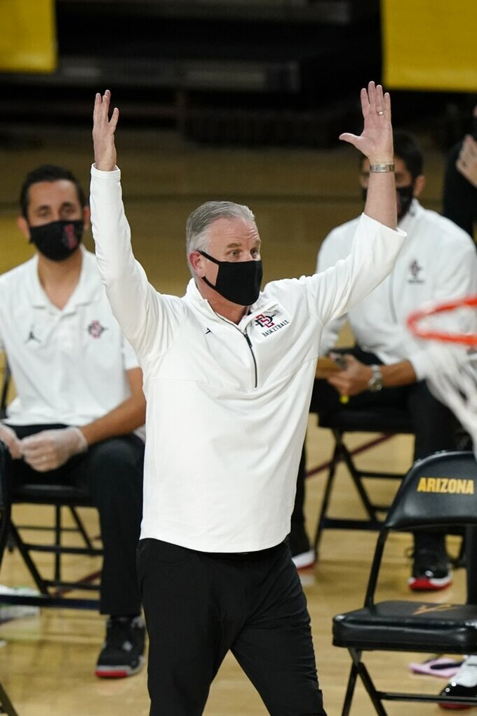San Diego State coach Brian Dutcher looks at referees during the first half of the team's NCAA college basketball game against Arizona State Thursday, Dec. 10, 2020, in Tempe, Ariz. (AP Photo/Ross D. Franklin)