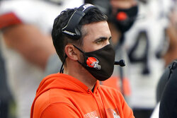 Cleveland Browns head coach Kevin Stefanski looks on from the sidelines during an NFL football game against the Pittsburgh Steelers, Sunday, Oct. 18, 2020, in Pittsburgh. Positive COVID-19 tests have knocked Stefanski out of Cleveland's wild-card game at Pittsburgh on Sunday night — the Browns' first playoff appearance since the 2002 season. (AP Photo/Justin Berl, File)