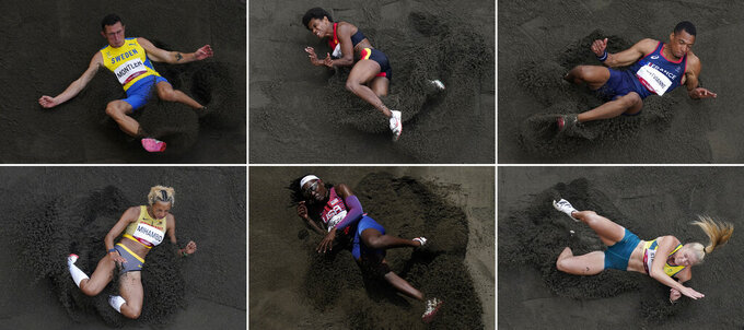 Jumpers, from top left, Thobias Montler, of Sweden, Rellie Kaputin, of Papua New Guinea, Jean-Marc Pontvianne, of France, Malaika Mihambo, of Germany, Brittney Reese, of United States, and Brooke Stratton, of Australia, compete at the 2020 Summer Olympics, Monday, Aug. 2, 2021, in Tokyo. (AP Photos/Morry Gash)