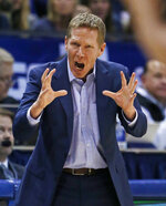 Gonzaga coach Mark Few shouts to his team during the first half of an NCAA college basketball game against BYU on Thursday, Jan. 31, 2019, in Provo, Utah. (AP Photo/Rick Bowmer)