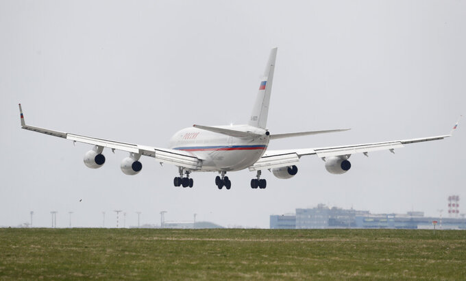 Russian special government plane lands at the Vaclav Havel airport in Prague, Czech Republic, Monday, April 19, 2021. Czech Republic is expelling 18 diplomats identified as spies over a 2014 ammunition depot explosion. On Saturday, April 17, 2021, Prime Minister Andrej Babis said the Czech spy agencies provided clear evidence about the involvement of Russian military agents in the massive explosion that killed two people. (AP Photo/Petr David Josek)
