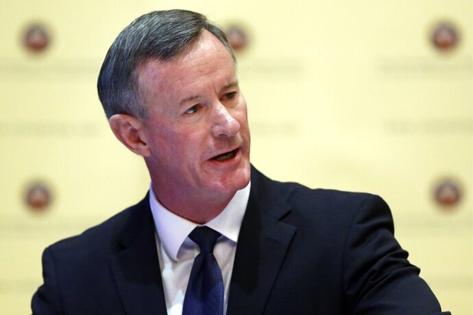 File - In this Aug. 21, 2014, file photo, William McRaven addresses the Texas Board of Regents, in Austin, Texas. The retired U.S. Navy admiral and former chancellor of the University of Texas system delivered an online address to MIT's graduating class on Friday, May 29, 2020. (AP Photo/Eric Gay, File)