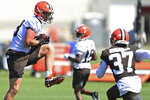Cleveland Browns tight end Harrison Bryant (88) catches a pass during an NFL football practice in Berea, Ohio, Tuesday, Aug. 24, 2021. (AP Photo/David Dermer)