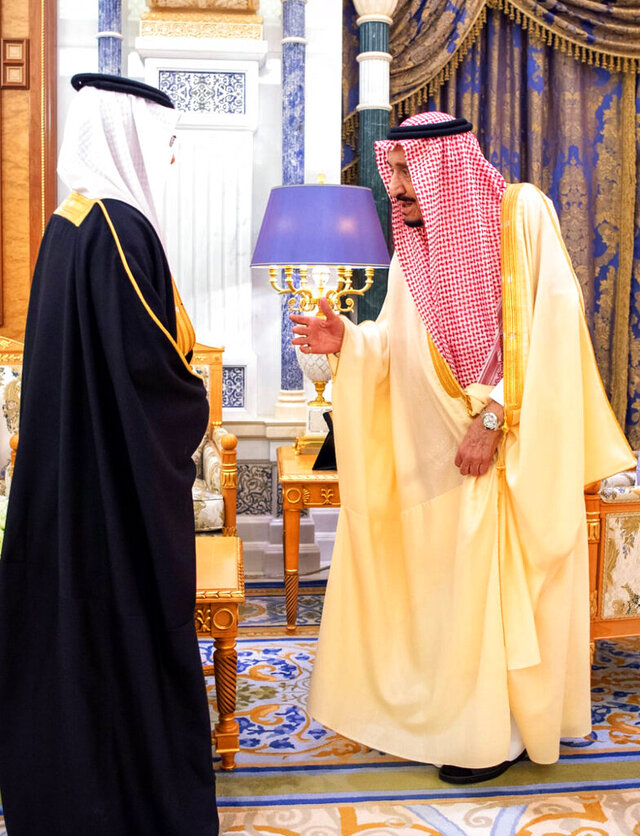 Saudi King Salman receives a newly appointed Saudi ambassador at his palace in Riyadh, Saudi Arabia, Sunday, March 8, 2020. Two senior princes in Saudi Arabia are under arrest for not supporting Crown Prince Mohammed bin Salman, who has consolidated control of all major levers of power with the support of his father, King Salman, two people close to the royal family said Saturday. (Saudi Press Agency via AP)