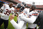 Chicago Bears kicker Eddy Pineiro, center, celebrates his game-winning field goal with free safety Eddie Jackson (39) and cornerback Prince Amukamara against the Denver Broncos after an NFL football game, Sunday, Sept. 15, 2019, in Denver. (AP Photo/David Zalubowski)