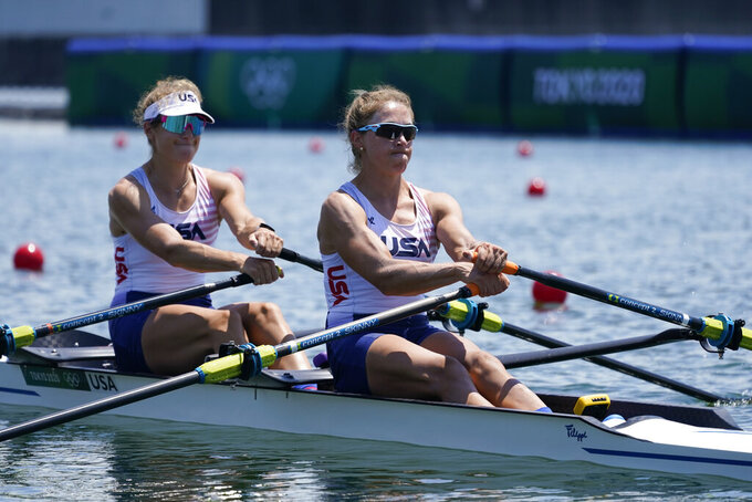 Kristina Wagner and Genevra Stone, of the United States, competes in the women double sculls at the 2020 Summer Olympics, Friday, July 23, 2021, in Tokyo, Japan. (AP Photo/Darron Cummings)