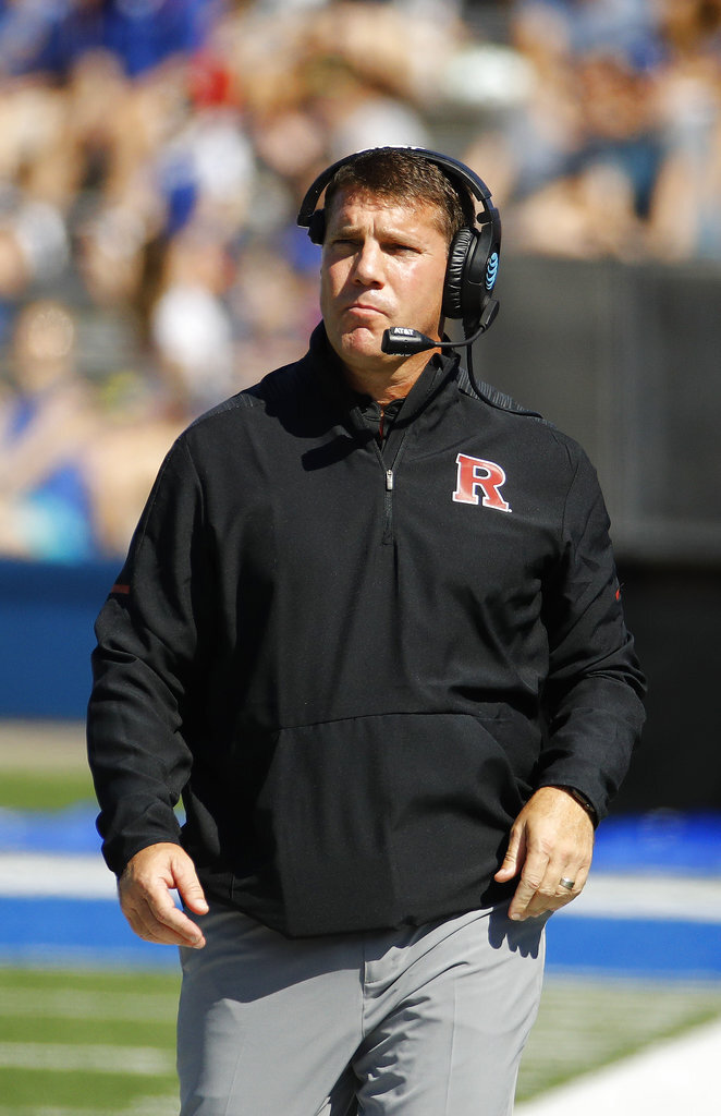 Rutgers head coach Chris Ash watches during the first half of an NCAA college football game against Kansas, Saturday, Sept. 15, 2018, in Lawrence, Kan.. (AP Photo/Charlie Riedel)