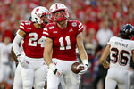 Nebraska tight end Austin Allen (11) reacts after recovering a blocked punt by Northern Illinois' punter Matt Ference (36) during the first half of an NCAA college football game in Lincoln, Neb., Saturday, Sept. 14, 2019. (AP Photo/Nati Harnik)