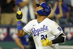 Kansas City Royals' Salvador Perez celebrates after hitting a solo home run during the fifth inning of a baseball game against the Oakland Athletics Wednesday, Sept. 15, 2021, in Kansas City, Mo. (AP Photo/Charlie Riedel)