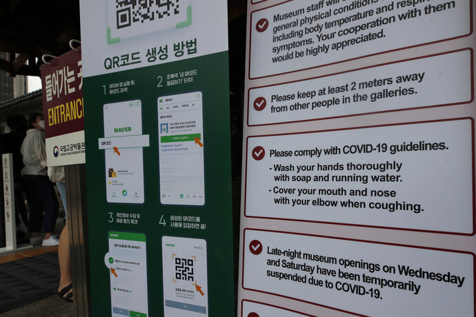 Visitors wearing face masks stand near banners showing precautions against the new coronavirus at National Palace Museum of Korea in Seoul, South Korea, Wednesday, July 22, 2020.  Just days after South Korean officials hopefully declared the country's COVID-19 epidemic was coming under control, health authorities reported dozens of new cases following a dual rise in local transmissions and imported infections. (AP Photo/Lee Jin-man)