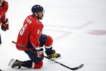Washington Capitals left wing Alex Ovechkin (8) celebrates his second goal of an NHL hockey game during the third period against the New York Rangers, Friday, March 19, 2021, in Washington. (AP Photo/Nick Wass)
