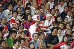 Fans react during a rugby match between Japan and South Africa at Kumagaya Rugby Stadium Friday, Sept. 6, 2019, in Saitama, Japan. (AP Photo/Eugene Hoshiko)