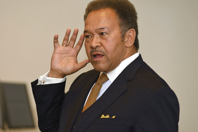 FILE - Robert Franklin, shown here in a Wednesday, Nov. 9. 2016 photo, is among seven candidates running Tuesday in a special election to fill the Atlanta-based congressional seat that was vacated in July by the death of civil rights leader John Lewis. Franklin, a Democrat and former president of Morehouse College, is the leading fundraiser in the race for what might only be weeks in Congress, and promises moral leadership.  (AP Photo/Rebecca Breyer)