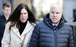 Former Adidas executive James Gatto and his wife Rachel Gatto arrives to court in New York, Tuesday, March 5, 2019. Federal prosecutors have recommended multi-year prison sentences for Gatto and two other men convicted of fraud for channeling secret payments to the families of top-tier basketball recruits to influence where the players went to school. (AP Photo/Seth Wenig)