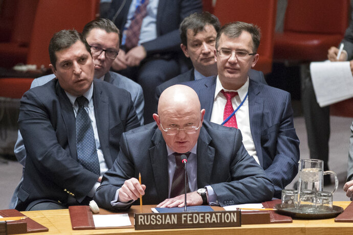Russian Ambassador to the United Nations Vassily Nebenzia speaks during a Security Council meeting on the situation between Britain and Russia, Wednesday, March 14, 2018 at United Nations headquarters. Britain said Wednesday it would expel 23 Russian diplomats and sever high-level bilateral contacts after Russia ignored a deadline to explain how a Soviet-developed nerve agent was used against ex-spy Sergei Skripal and his daughter Yulia. (AP Photo/Mary Altaffer)