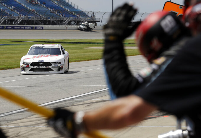 Cole Custer drives down pit road during the NASCAR Xfinity Series auto race at Chicagoland Speedway in Joliet, Ill., Saturday, June 29, 2018. (AP Photo/Nam Y. Huh)