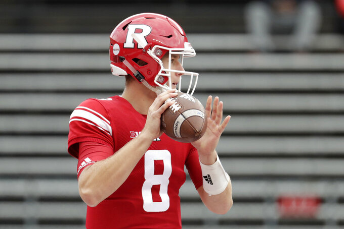 Rutgers quarterback Artur Sitkowski looks to pass against Northwestern during the first half of an NCAA college football game, Saturday, Oct. 20, 2018, in Piscataway, N.J. (AP Photo/Julio Cortez)