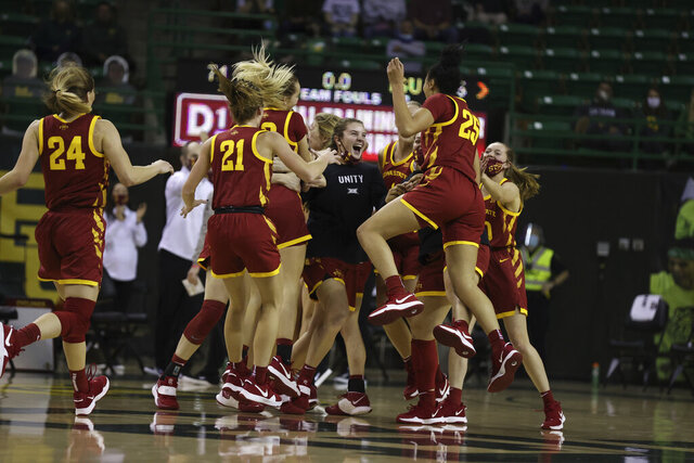 Iowa State players react to their win over Baylor after the second half of an NCAA college basketball game, Saturday, Jan. 16, 2021, in Waco, Texas. (Rod Aydelotte/Waco Tribune-Herald via AP)